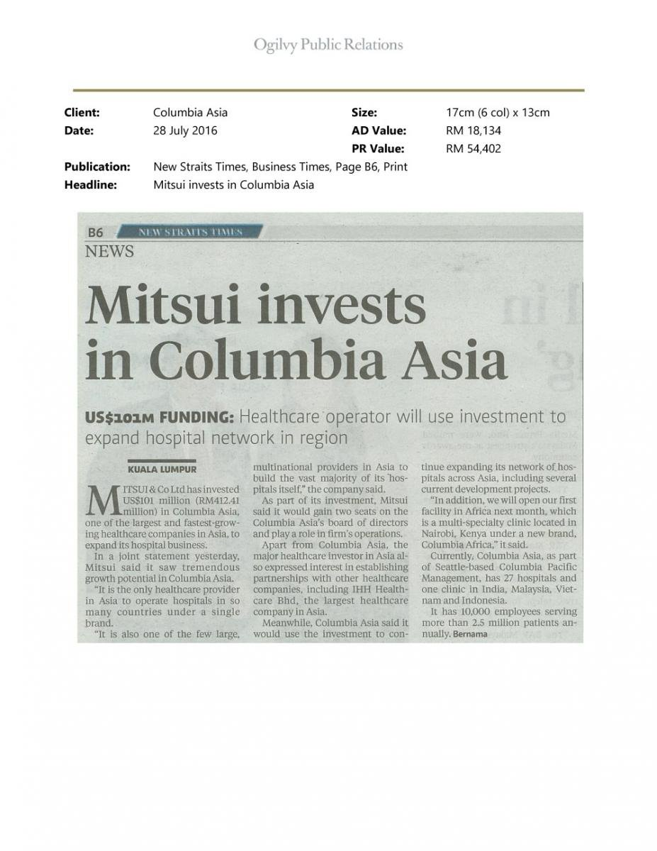 Columbia Asia Medical Centre Design Interior Jpg 1 000 1: Columbia Asia Receives $101M Investment From Mitsui & Co